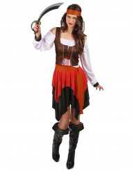 Disfarce de pirata com colete castanho mulher