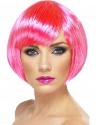 Peruca cor-de-rosa fluorescente mulher