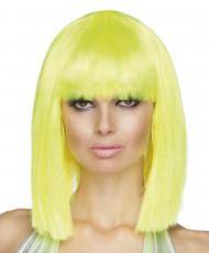 Peruca amarelo flúor de efeito quadrado e de comprimento médio para mulher