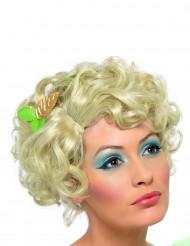 Peruca de cabelos louros encaracolados curtos para mulher