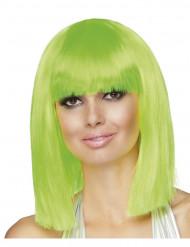 Peruca verde flúor de efeito quadrado e de comprimento médio para mulher