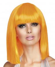 Peruca cor-de-laranja de efeito quadrado e de comprimento médio para mulher