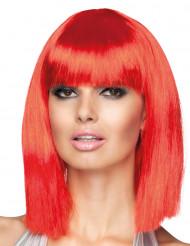 Peruca vermelha de efeito quadrado e comprimento médio para mulher
