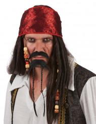 Bigode e barbicha de pirata para adulto