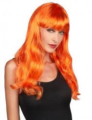 Peruca longa cor-de-laranja mulher