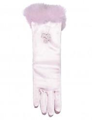 Luvas cor de rosa para menina