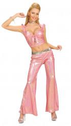 Calças de estilo ?disco? cor-de-rosa, para mulher