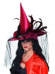 Chapéu de bruxa luxo vermelho mulher Halloween