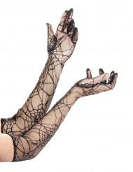 Luvas compridas teia de aranha mulher