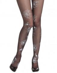 Meia calça teia de aranha mulher Halloween
