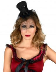 Mini-chapéu preto de forma alta mulher
