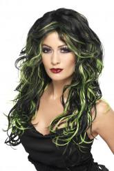 Peruca preta com madeixas verdes mulher