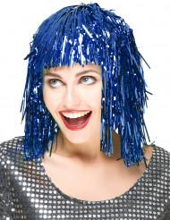 Peruca azul metalizada para adulto