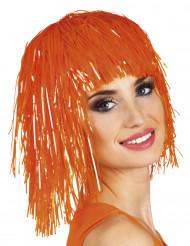 Peruca metálica cor-de-laranja adulto