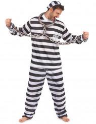 Disfarce de prisioneiro preto e branco homem
