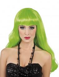 Peruca longa verde fluorescente para mulher