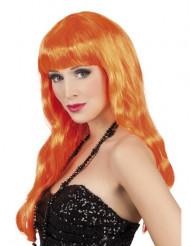 Peruca longa cor-de-laranja para mulher