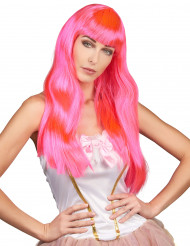 Peruca longa cor-de-rosa fluorescente para mulher