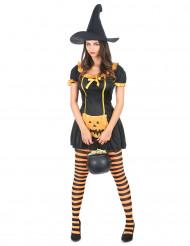 Disfarce bruxa abóbora mulher Halloween