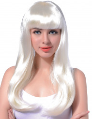 Peruca branca longa para mulher