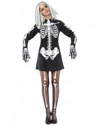 Disfarce esqueleto preto e branco mulher Halloween