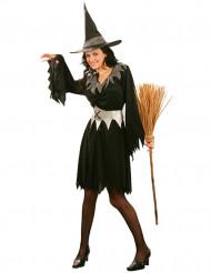 Disfarce bruxa mulher Halloween preto com cinto