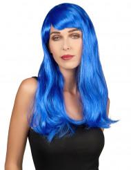 Peruca azul longa para mulher