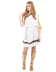 Disfarce de deusa romana com capa mulher