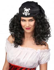 Peruca castanha de pirata mulher