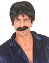 Peruca preta de cantor disco homem
