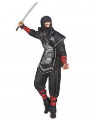 Disfarce ninja homem dragão prateado