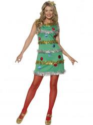 Disfarce de pinheiro com grinaldas mulher Natal