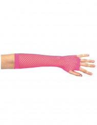 Luvas mitenes de rede cor-de-rosa para mulher