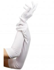 Luvas compridas brancas para adulto