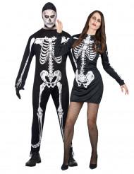 Disfarce de casal esqueleto Halloween