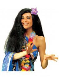 Peruca preta de havaiana para mulher