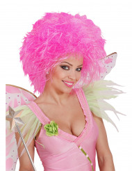 Peruca cor-de-rosa fluo para mulher