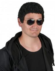 Peruca encaracolada preta homem