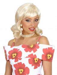 Peruca de cabelos louros dos anos 50 para mulher