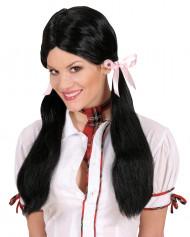 Peruca de cabelos pretos de colegial para mulher
