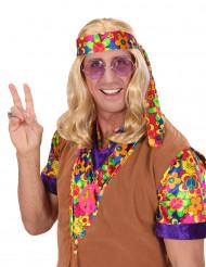 Peruca loura hippie para adulto