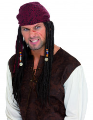 Peruca pirata tranças africanas homem