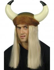 Capacete Viking com cabelo louro adulto