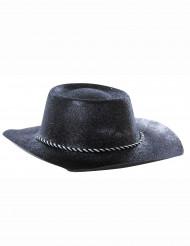 Chapéu preto de vaqueira brilhante