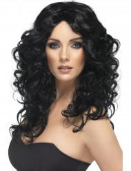 Peruca comprida e encaracolada preta mulher