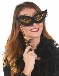 Máscara com haste preta e dourada para adulto