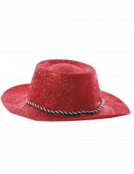 Chapéu vermelho de vaqueira brilhante