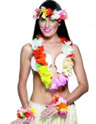 Conjunto havaiano multicolorido para mulher