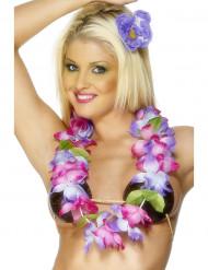 Colar havaiano cor-de-rosa e violeta