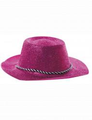 Chapéu cor-de-rosa de vaqueira com purpurinas